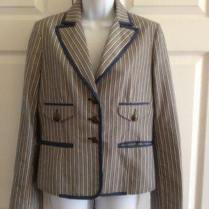 BCBG Maxazria Blue White Striped Cotton Jacket S
